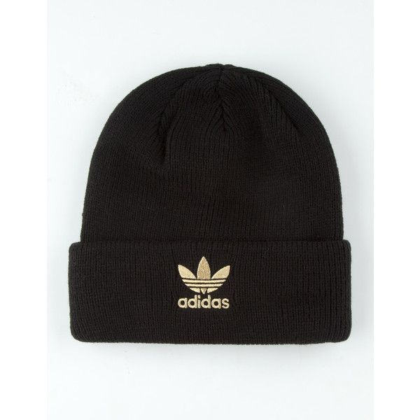 Adidas Originals Trefoil Beanie ($20) ❤ liked on Polyvore featuring accessories, hats, embroidery hats, embroidered beanie, beanie hat, adidas beanie and embroidered hats