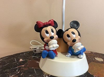 Vintage-DISNEY-Infant-Mickey-Mouse-Minnie-Mouse-Lamp-and-With-Night-Light