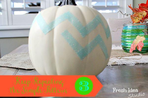 Fun Idea for Fall! Make-Your-Own Chevron Pumpkin. See the Easy 5-Minute DIY: 3-Step tutorial at Fresh Idea Studio.com