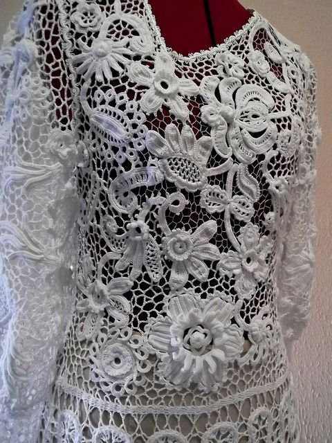'swan' dress - Irish crochet techniques, by Russian crochet designer Olgemini, via Flickr