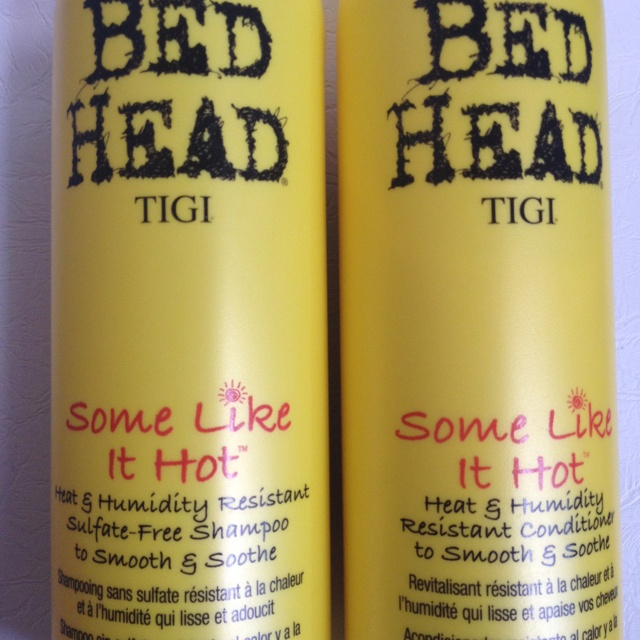 Tigi's™ Bed Head 'Some Like it Hot'  Heat & Humidity Free Shampoo & Conditioner Combo to smooth and soothe.  •Summer hair routine• + Some Like It Hot Flat Iron Pomade   Viola! Straight and no friZZ!