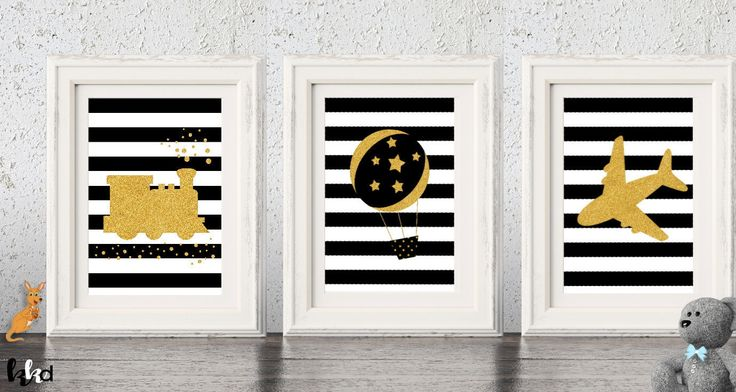 Transportation Wall Art, Boys Nursery Prints, Baby Boy Gift, Black and White Wall Art, Hot Air Balloon Nursery, Gold Nursery Decor by KangarooKidsDesigns on Etsy