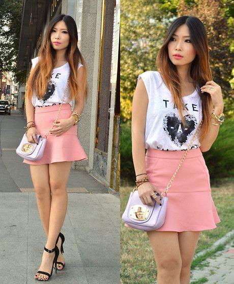 Mango T Shirt, Zara Ruffled Skirt