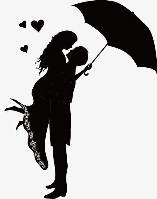 los amantes sketch silueta cifras abrazo paraguas blanco y negro