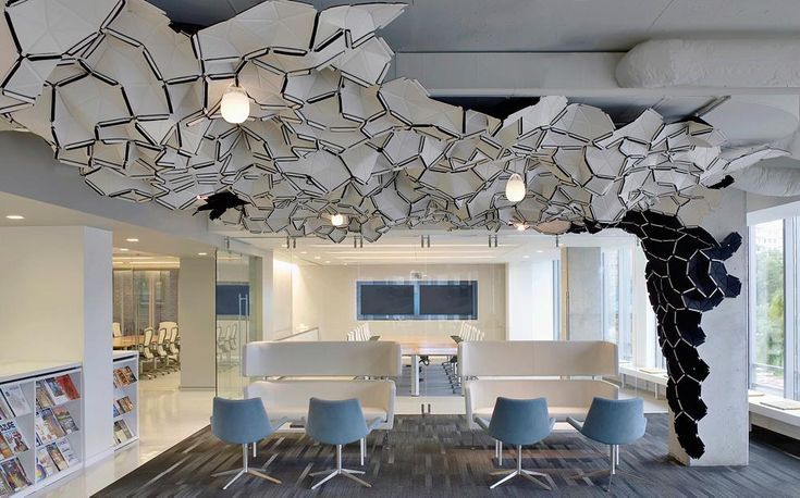 Clouds installed as a decorative ceiling element at SmithGroupJJR Office in Washington DC