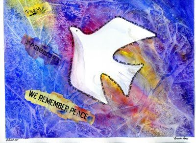 that artist woman: Remembrance Day Mixed Media Project - step by step; omit small words around dove for younger kids