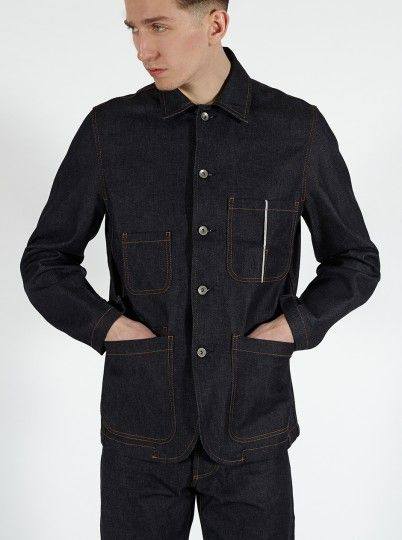 Universal Works Workshop Denim Indigo Bakers  Chore Jacket in Selvedge Denim