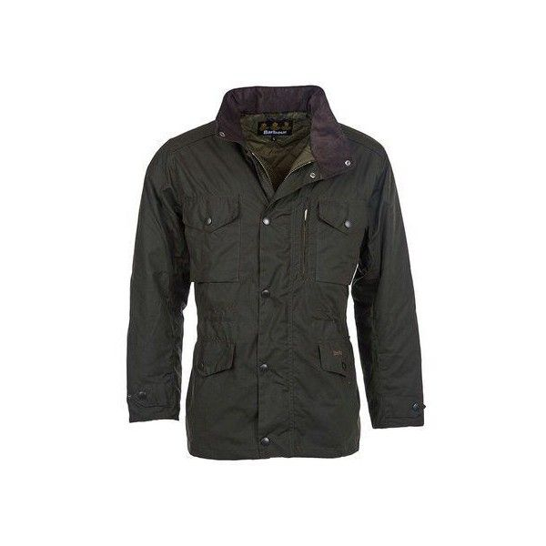 Barbour sapper wax jacket olive (£395) ❤ liked on Polyvore featuring men's fashion, men's clothing, men's outerwear, men's jackets, mens waxed jacket, mens military style jacket, mens olive green military jacket, mens waterproof jackets and mens green military style jacket