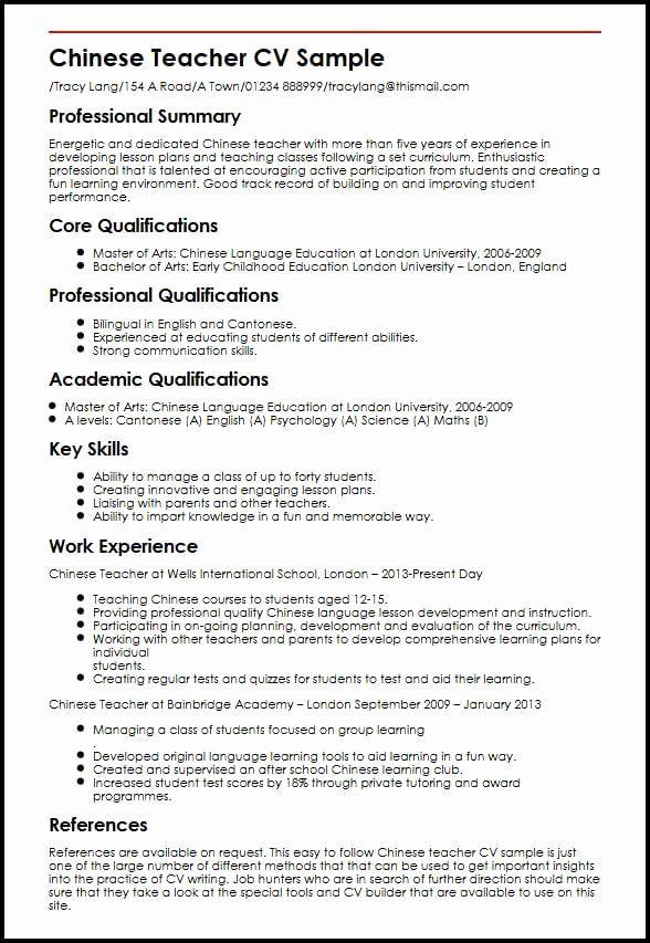 Esl Teacher Job Description Resume Elegant Esl Teacher Job Description Resume Inspirational Chinese In 2020 Teacher Resume Examples Jobs For Teachers Teaching Resume