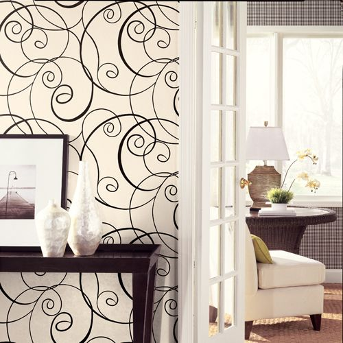 graphic wallpaper feature wall: Living Rooms, Graphics Wallpapers, Decoration Idea, Wall Paintings, Wallpapers Features Wall, Swirls, Wall Design, Design Bathroom, Accent Wall