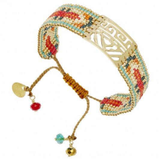 Bracelet manchette Africa (turquoise et orange)