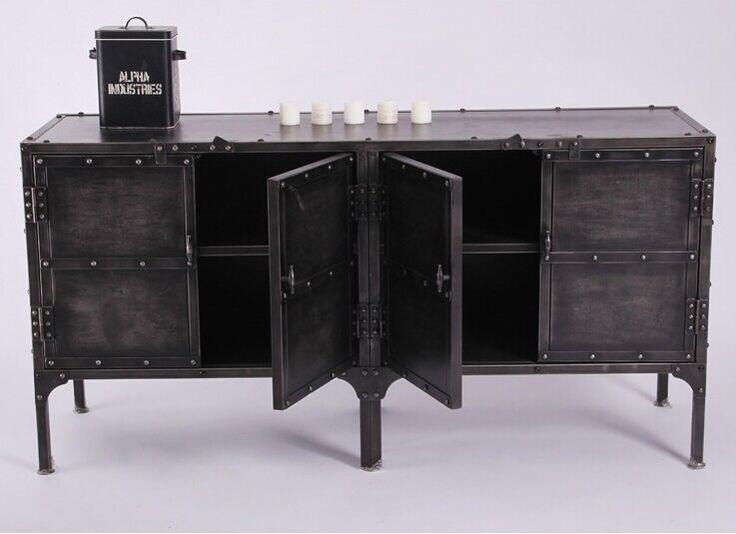 Лофт ] [ Yi семьи , чтобы сделать старый кованого железа буфет шкаф книжный шкаф заклепки ретро металл грузовой шкафчики купить на AliExpress
