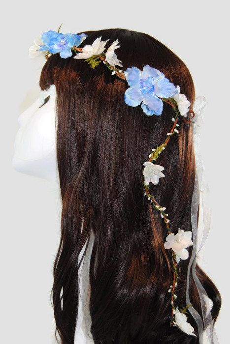 Blue Bridal Crown  Blue Bridal Hair Vine  Blue by TwoBrightStars