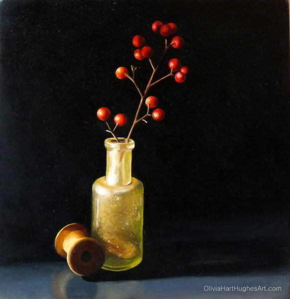 "Still life painting by Olivia Hart-Hughes called ""Red Berries"" - Oil on Board.  ©Olivia Hart-Hughes Art 2014"