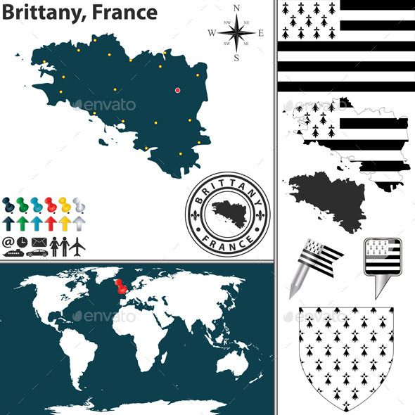 Map of Brittany, France