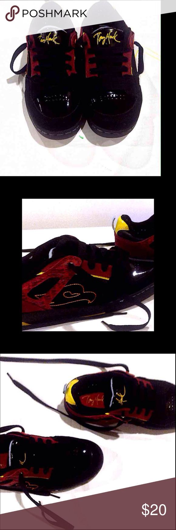 TONY HAWK BOYS SHOES . Tony Hawk Shoes. Bright colors like red, yellow and black .Brand new with black shoe lace and Tony Hawk embellished on the front , back and on the sides. Brand new with out tag. Never worn. Tony Hawk Shoes Sneakers
