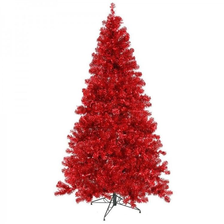 7 FT Red Artificial Christmas Tree Decor Stand Pre Lit 500 Red Lights 1257  Tips