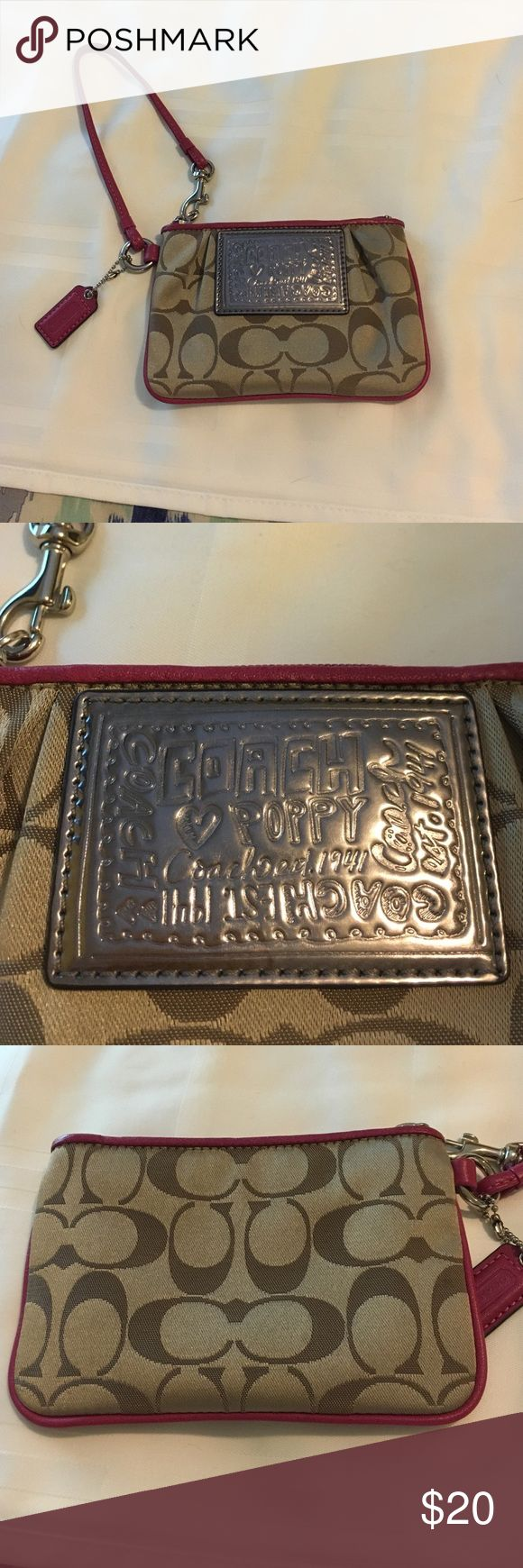 AUTHENTIC Coach Poppy Signature Wristlet Coach khaki and fuschia Wristlet with hang tag and Wristlet strap. Strap has a clip on it so you can attach your Wristlet to a purse! Purchased this at the Coach Store located in the Country Club Plaza about 6 years ago. Excellent condition! Willing to negotiate Coach Bags Clutches & Wristlets