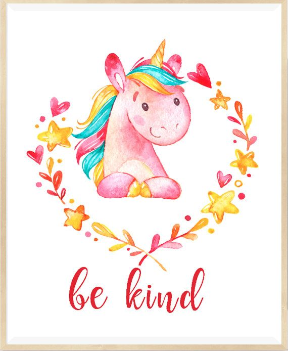 Be Kind Print Unicorn Wall Art Nursery by LeelaPrintableArt #unicorn #nurseryart
