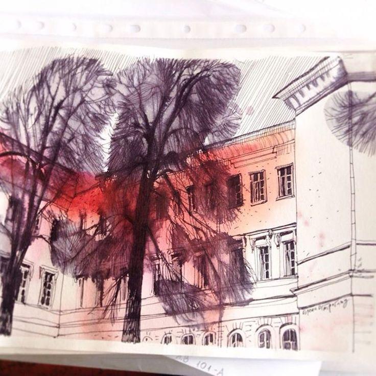 Ще пленерний листопад ☁️ #urbandrawing #urbansketch #watercolor #draw #sketch #зарисовка #архитектурныезарисовки #архітектурнізарисовки #пленер #пленэр #pleinair #teawithrosejam