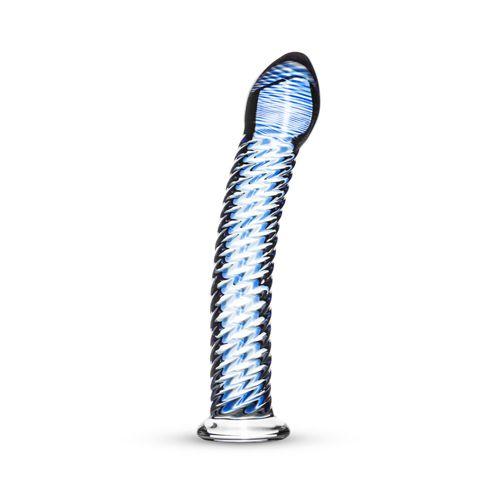 Deze glazen dildo is onmisbaar in het nachtkastje van de liefhebbers van bijzondere sextoys. De dildo is transparant en heeft blauwe details voor een bijzondere look. De schacht is gebogen en heeft stimulerende ribbels die zorgen voor extra stimulatie wanneer de dildo wordt ingebracht. Door de platte onderkant kan de toy vaginaal en anaal worden gebruikt.