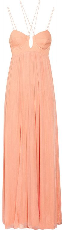Willow Stretch Silk and Tulle Maxi Dress in Pink