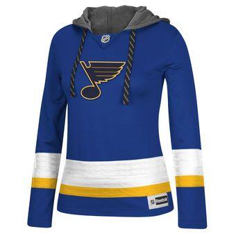 Women's St. Louis Blues Reebok Royal Jersey Pullover Hoodie