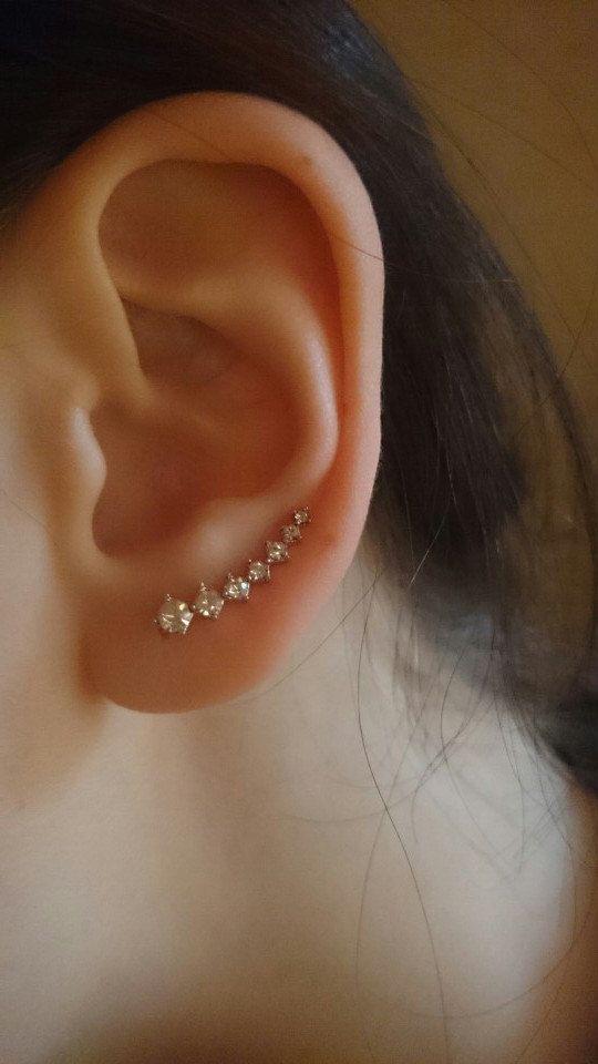 Crystal Ear Crawler Earrings - Delicate Earrings, Wedding Earrings, Ear Climber, Fashion Earrings, Ear Crawler, Gold Ear Pin, Simple Earring