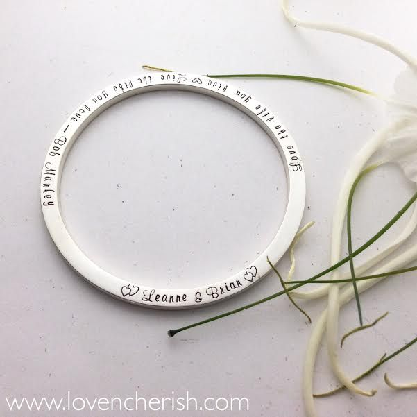 Personalised Luxury Sterling Silver Bangle.  This gorgeous keepsake is a luscious 3mm thick sterling silver and can be personalised on both sides.  Perfect anniversary, wedding or valentine's day gift.