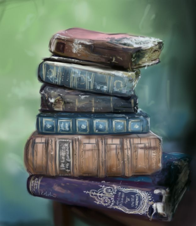 There is a really stunning photo of old books on the net, one of my favorites. One afternoon I sketched it on my tablet. The sketch is mine, U can find the original photo here: http://www.28dayslater.co.uk/berkwyn-manor-horton-july-2012.t72431