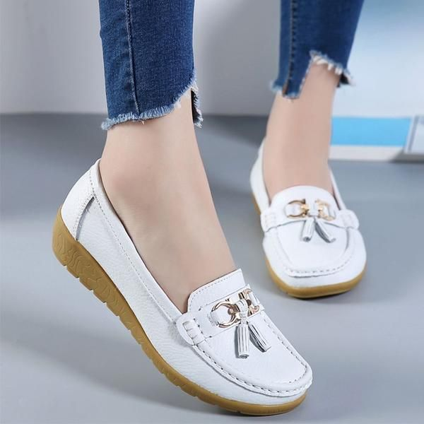 Women Leather Slippers Slip on Flats Nurse Moccasin Casual Comfort Boat Shoes US