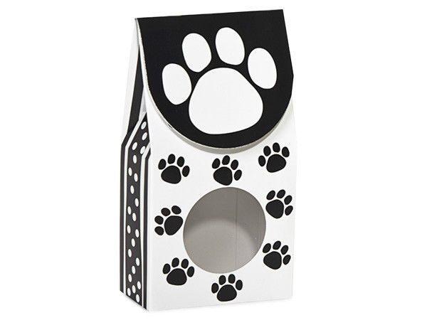 12 Black White Polka Dot Dog Paws Print Candy Treat Gourmet Food Window Boxes