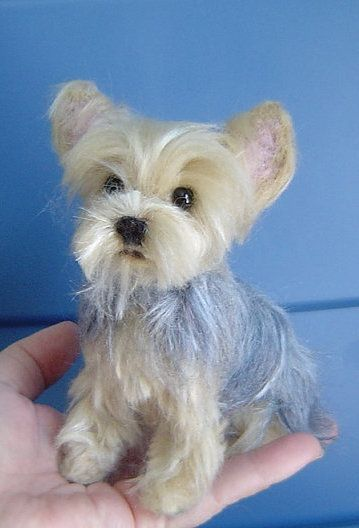 Yorkshire Terrier custom pet Portrait needle felted dog sculpture