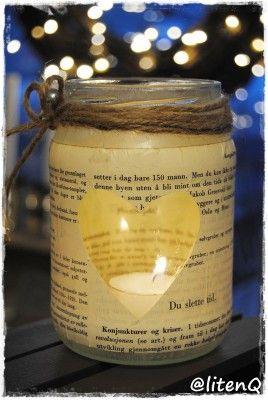 En side av en gammel bok limt på et syltetøyglass. http://inspirasjon.litenq.no