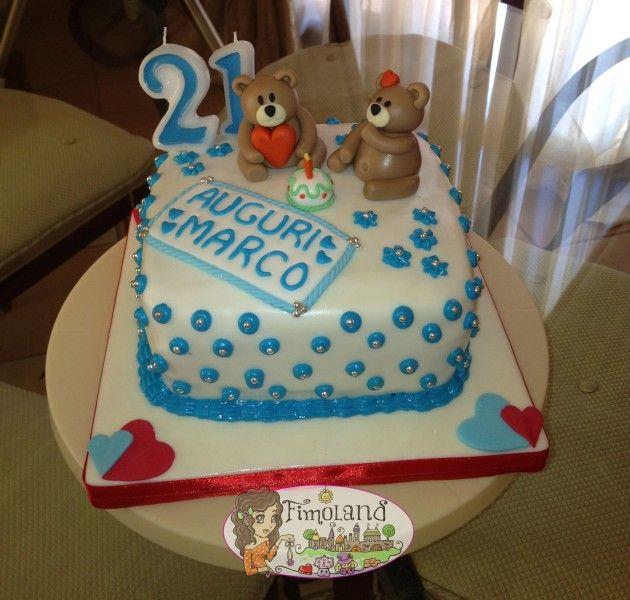 torta cake design in pasta di zucchero e glassa reale con orsetti
