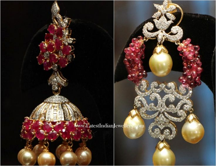 Diamond Ruby Jhumka Chandbali Earrings