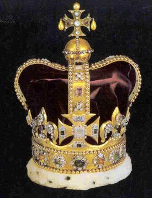 The sovereign is always crowned with St. Edwards crown. This is a golden crown encrusted with diamonds, rubies, pearls, emeralds and sapphires. It replaced the one destroyed by Cromwell.   The crown has been used in the coronation of every British Monarch since Queen Victoria, by whom it was considered too heavy, she was crowned with the lighter State Crown.