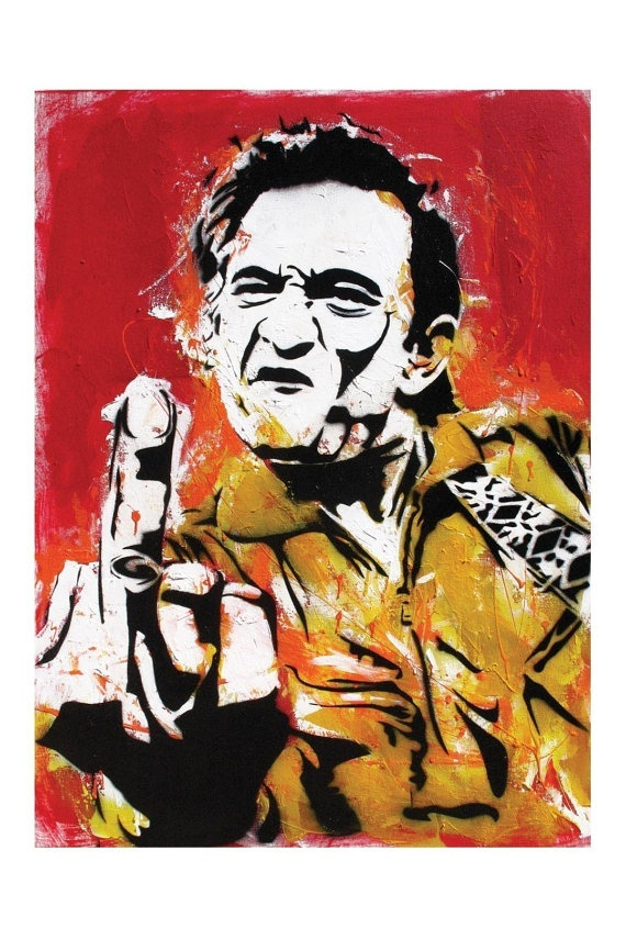 Johnny Cash  Middle Finger  12 x 18 High by PointBlankDesign, $20.00
