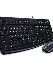 logitech originale combo clavier MK120 combo souris usb imperméabilisé 1000dpi filaire pour ordinateur pc bureau noir