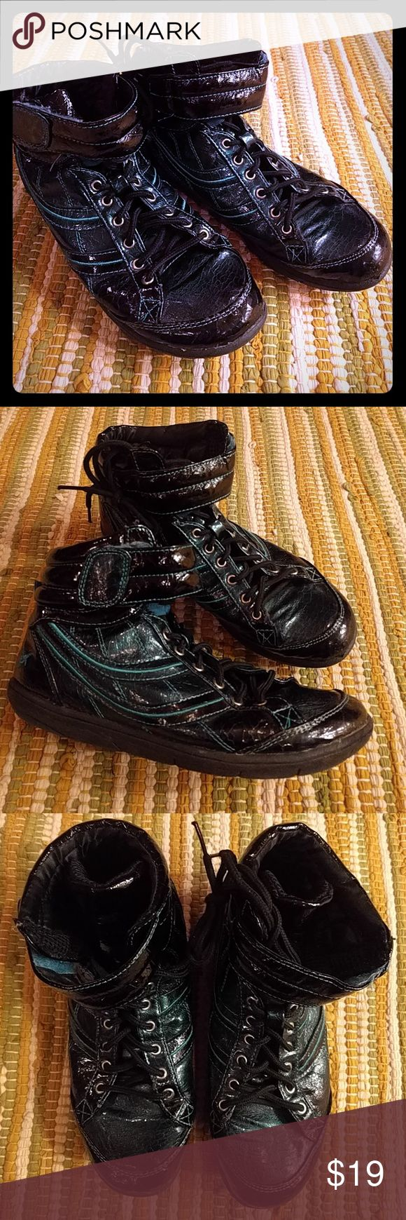 Chinese Laundry Edwina Blue High Tops Shiny black high top sneakers with iridescent blue accent. EUC. Super cool unique kicks! Chinese Laundry Shoes Sneakers