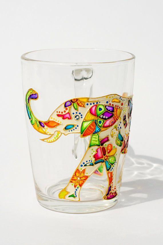 Boho Gift Tribal Elephant Elephant Mug Paisley Art by Vitraaze