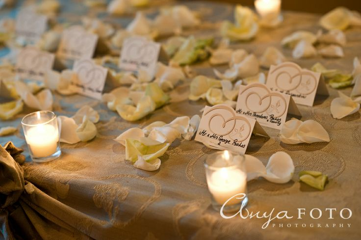 Place Cards anyafoto.com, wedding, wedding place cards, place card ideas, place card designs, cream and white place cards, swirly place cards, place card table