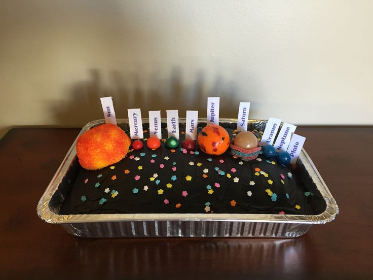Solar System / Planet 3D middle school project. Cake with black frosting, star sprinkles, sun is a food colored snowball, and the planets are bubble gum, jawbreakers, hard candy, suckers and Sixlets, Saturn's rings are sour gummy ropes.