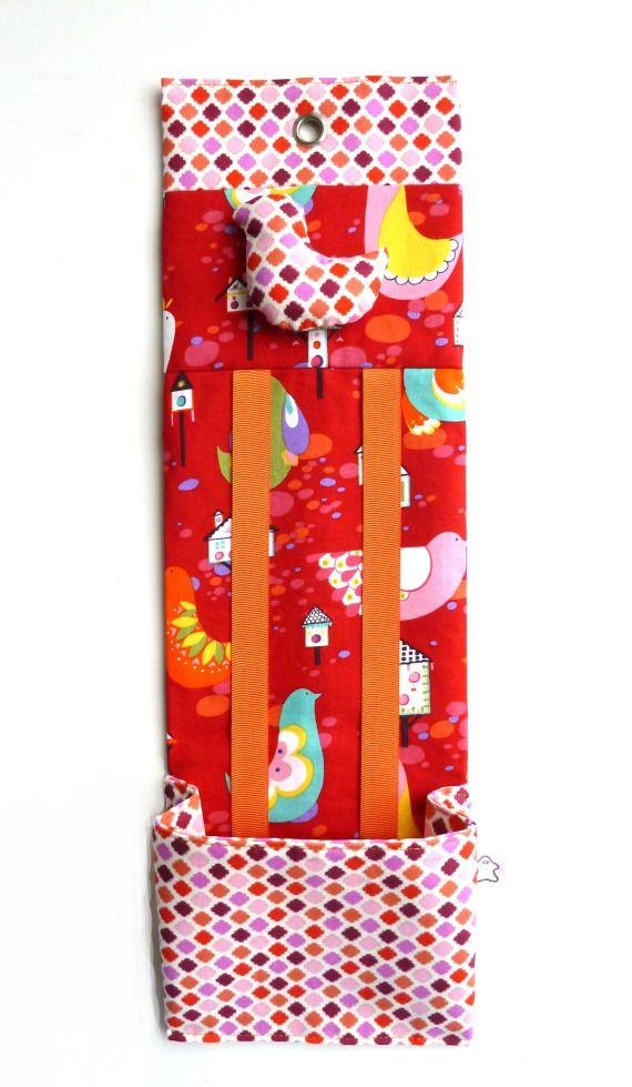 Organizador de horquillas Red Birds, Niños y bebé, Accesorios, Hogar, Cuarto de baño, Hogar, Dormitorios, Textil, Patchwork, Textil, Niños