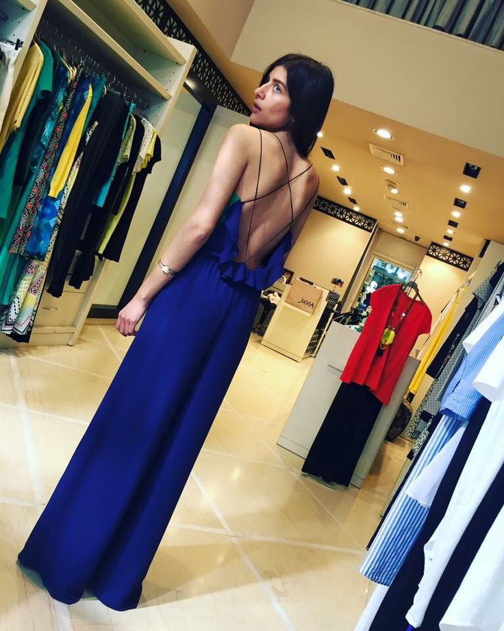 The KNLs colorblock jumpsuit backless tie navy blue and green fashion style cord Tethereal wedding party dress brand independent label handmade handcrafted