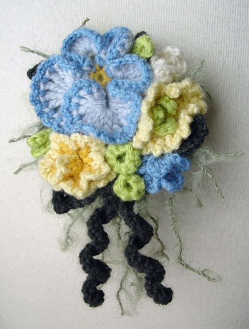 crochet blue pansy corsage by meekssandygirl, via Flickr