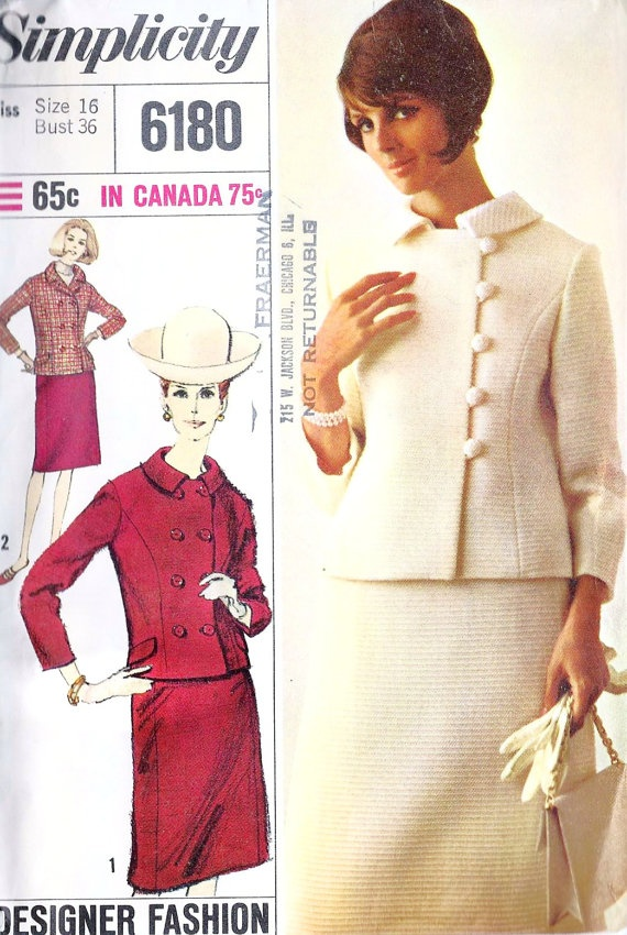 1960s Misses Suit Office Fashion I would sew this red suit today -love the look but a pattern for 65c?