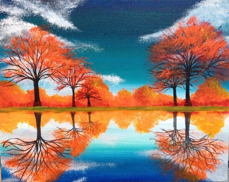 Autumn Reflections is a perfect piece for the season. Lets paint and drink some wine.