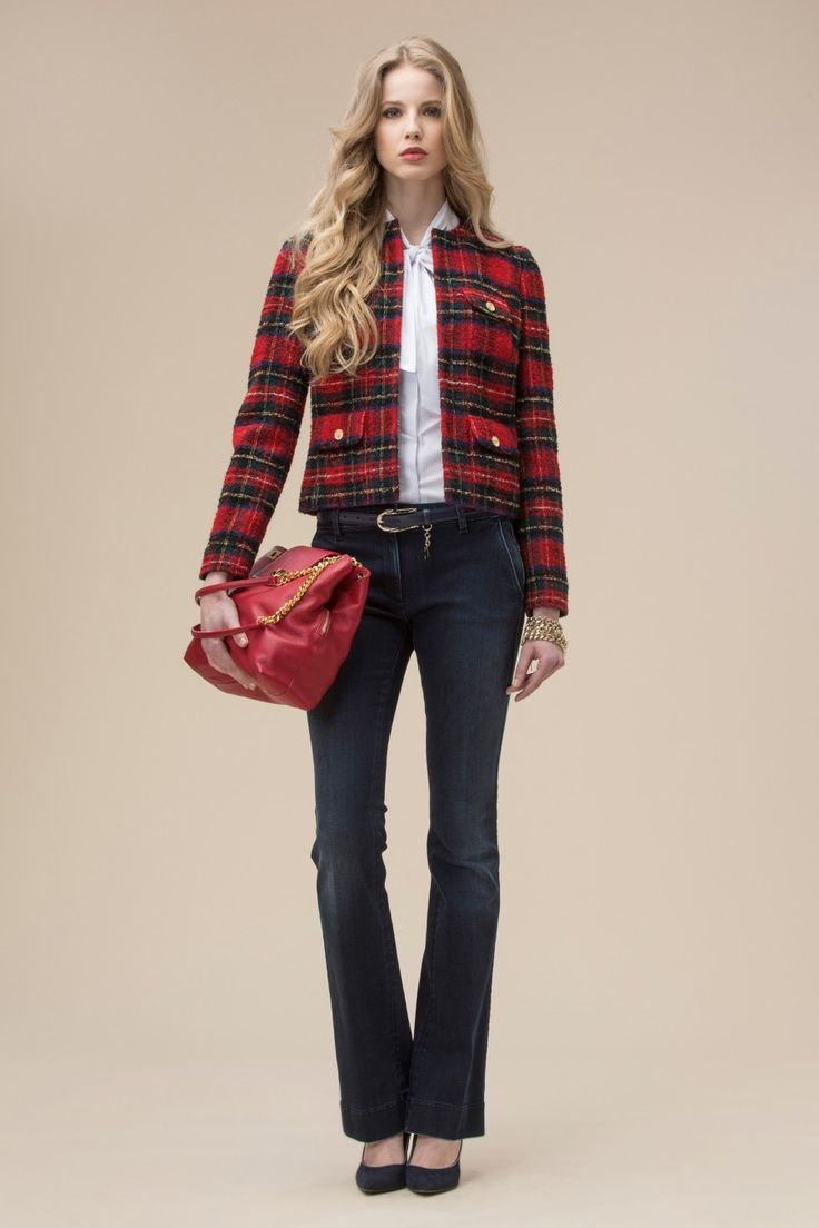 Tartan patterned bouclé wool jacket