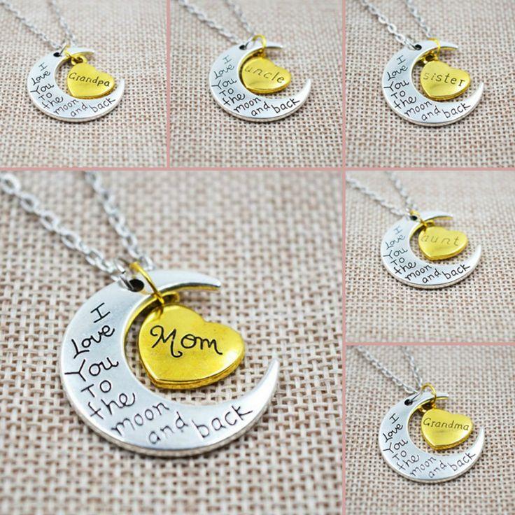 Je te aime à la lune et retour collier en argent colliers pendentifs mode de famille millésime femmes bijoux maman cadeau de noël